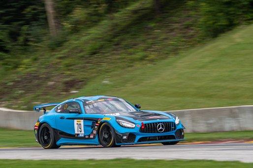 #79 Mercedes AMG GT4 of Chris Gumprecht, RENNtech Motorsports, GT America Powered by AWS, GT4, SRO America, Road America, Elkhart Lake, Aug 2021.